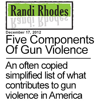 The Five Components Of Gun Violence - An often copied simple list of what contributes to gun violence in America
