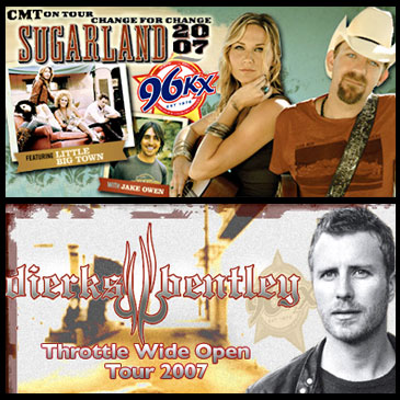 Radio Website Graphics - Three examples of graphics created for the website templates of a country radio station, in two different formats. Notice the station logo in each.